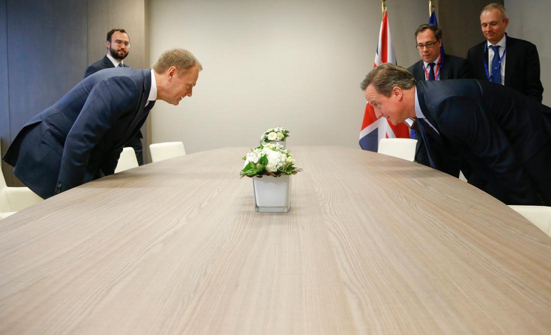 Febrero de 2016. Cameron se reúne con Tusk antes del referéndum.