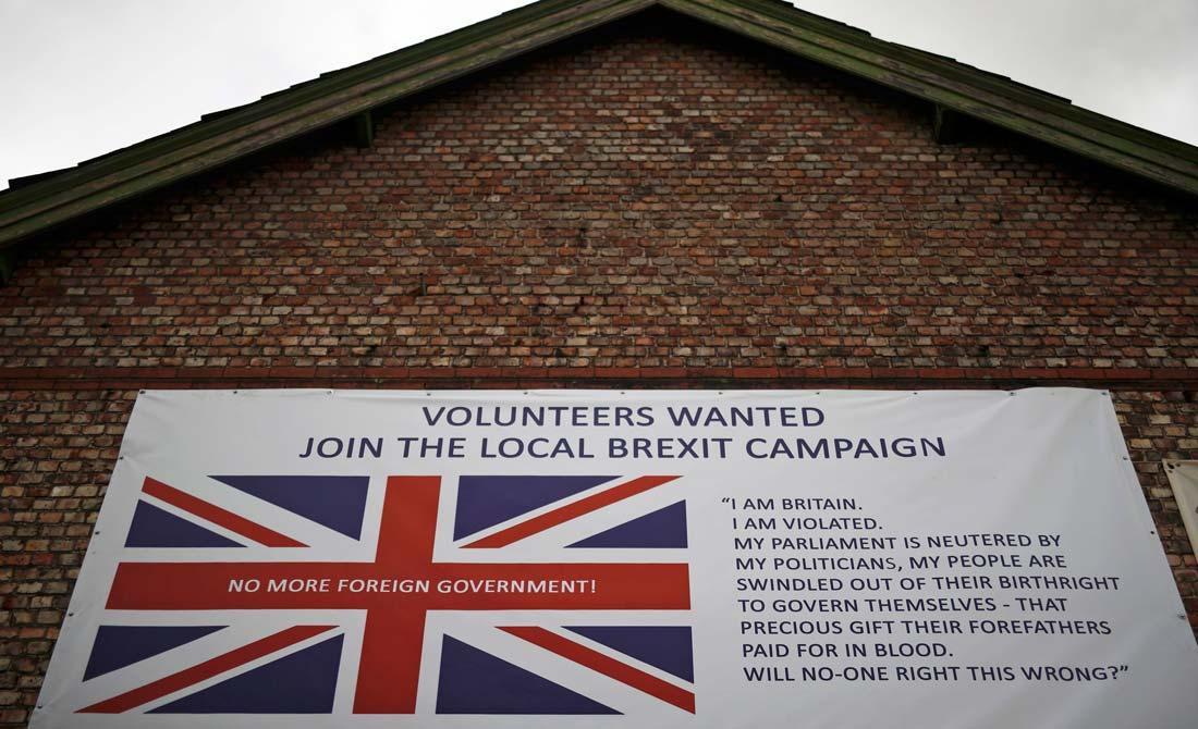 Mayo de 2016. Cartel a favor del Brexit durante la campaña previa al referéndum.