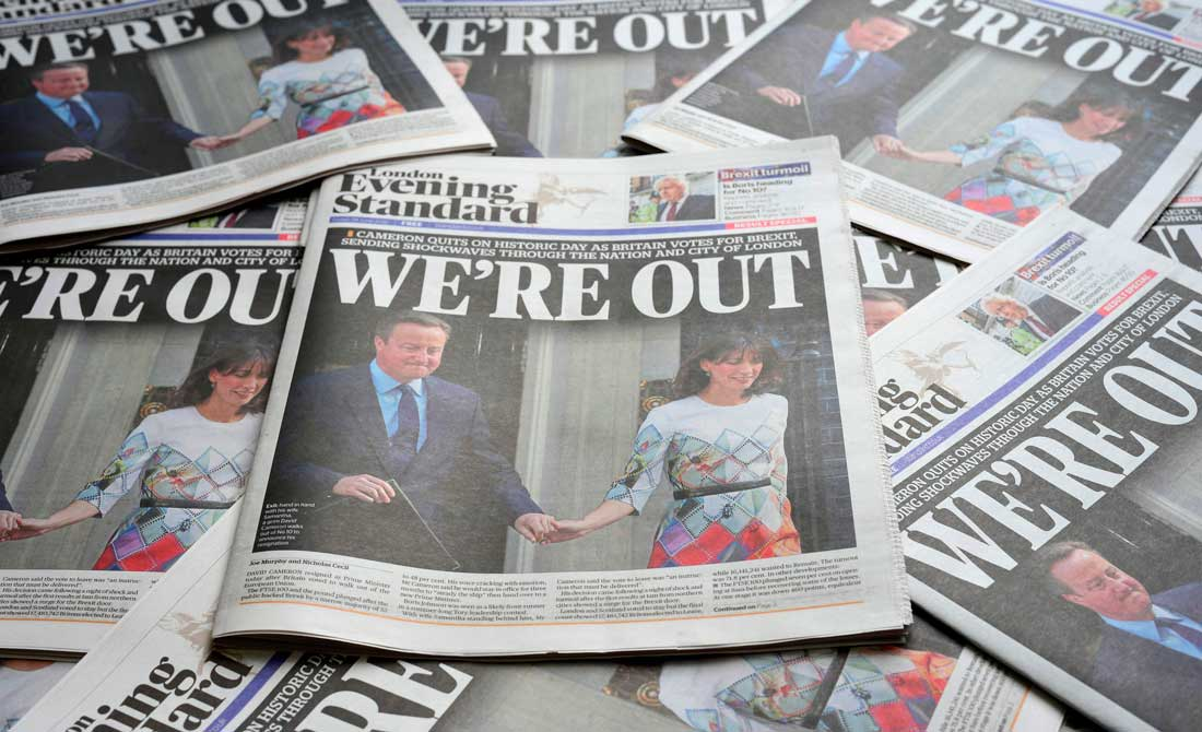 Junio de 2016. Portadas del vespertino 'Evening Standard' del día siguiente del referéndum.