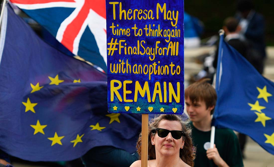 Junio de 2018. Concentración de los partidarios de la permanencia de Reino Unido .