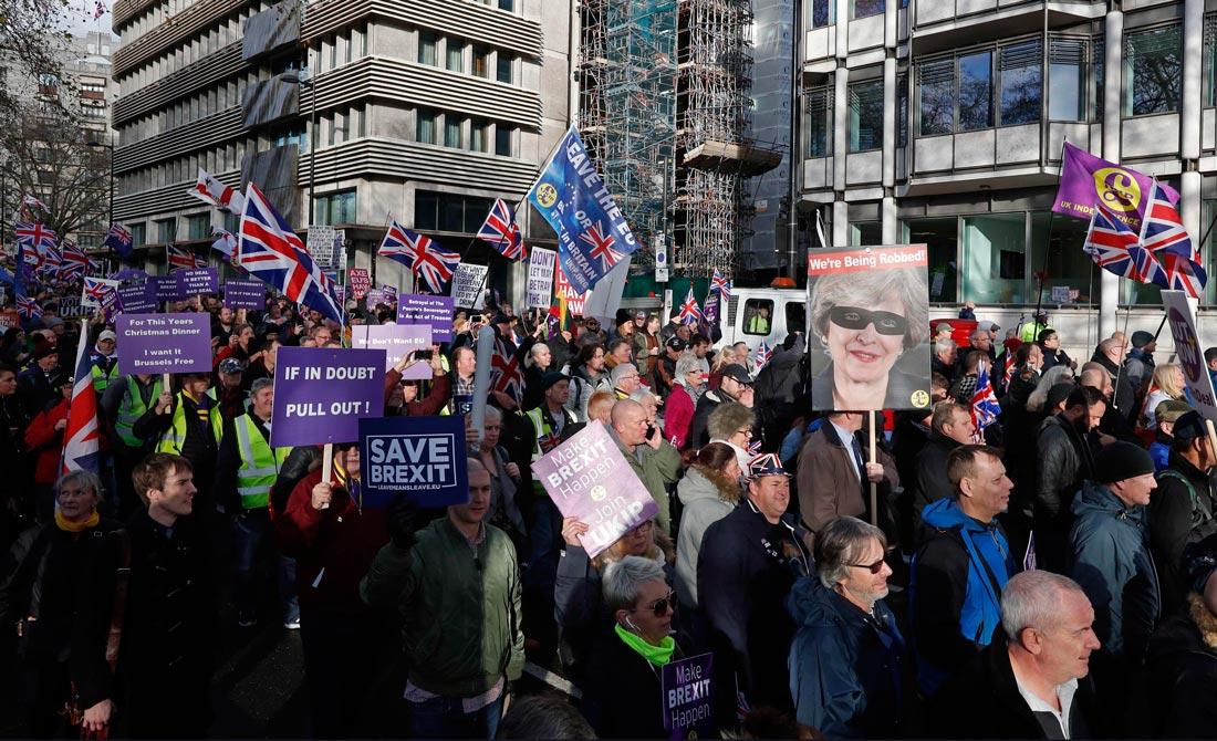 Diciembre de 2018. Concentración de los partidarios del Brexit ante el Parlamento.