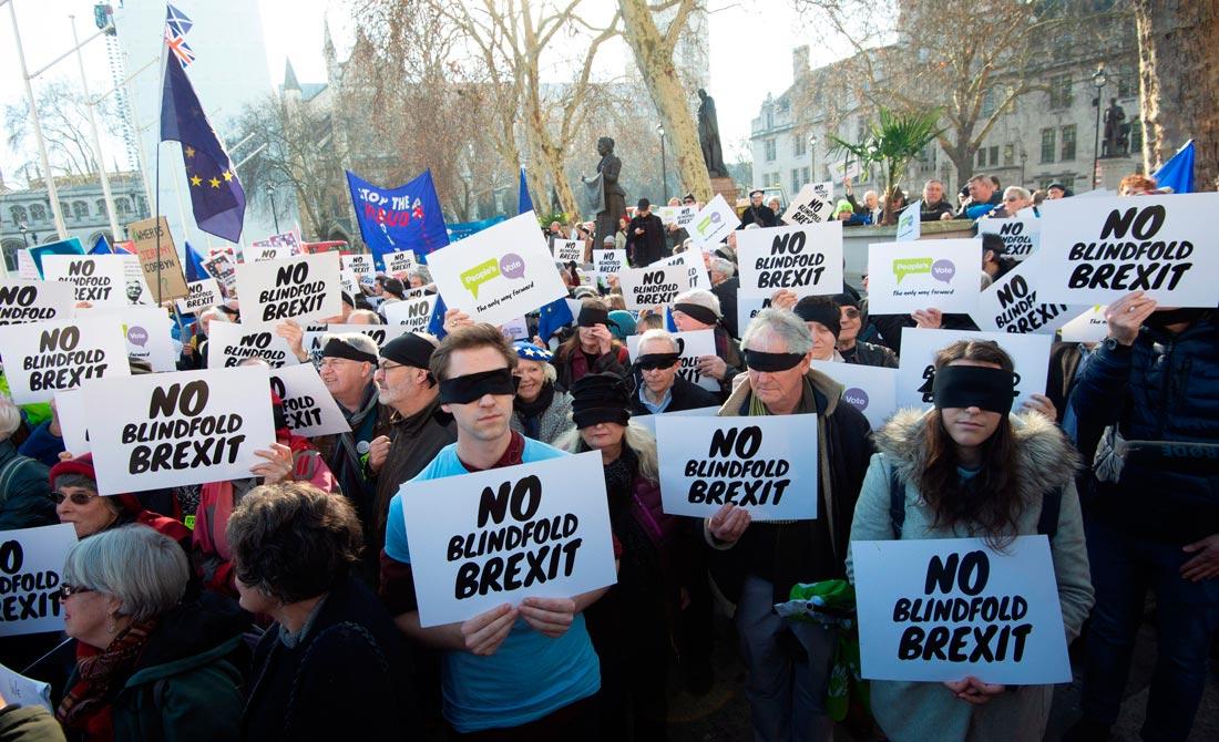 Febrero de 2019. Detractores anti Brexit frente al Parlamento.