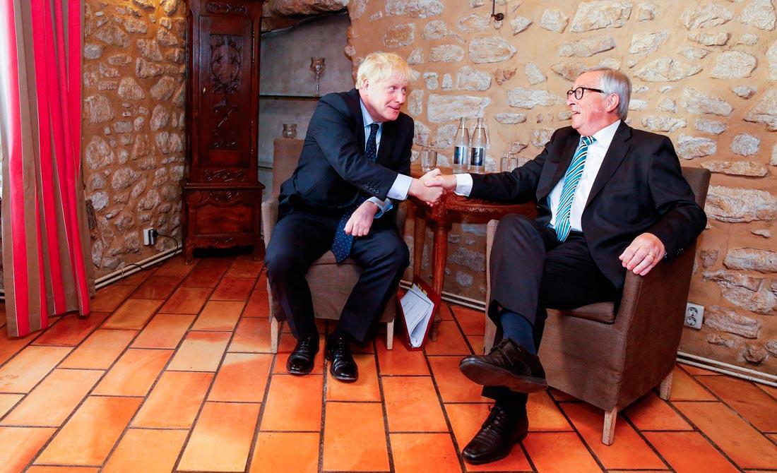 Septiembre de 2019. Encuentro del presidente de la Comisión, Jean-Claude Juncker, y el 'premier', Boris Johnson.