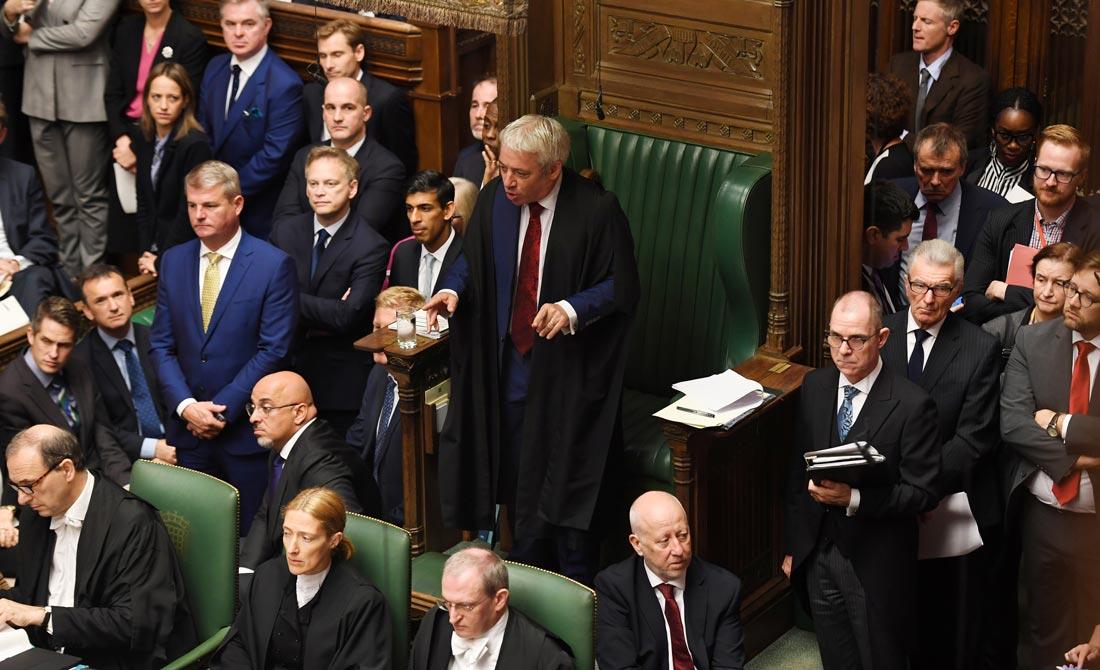 Octubre de 2019. El 'speaker' John Bercow se dirige a los diputados. Es sábado y hacía décadas que no celebraba un pleno ese día.