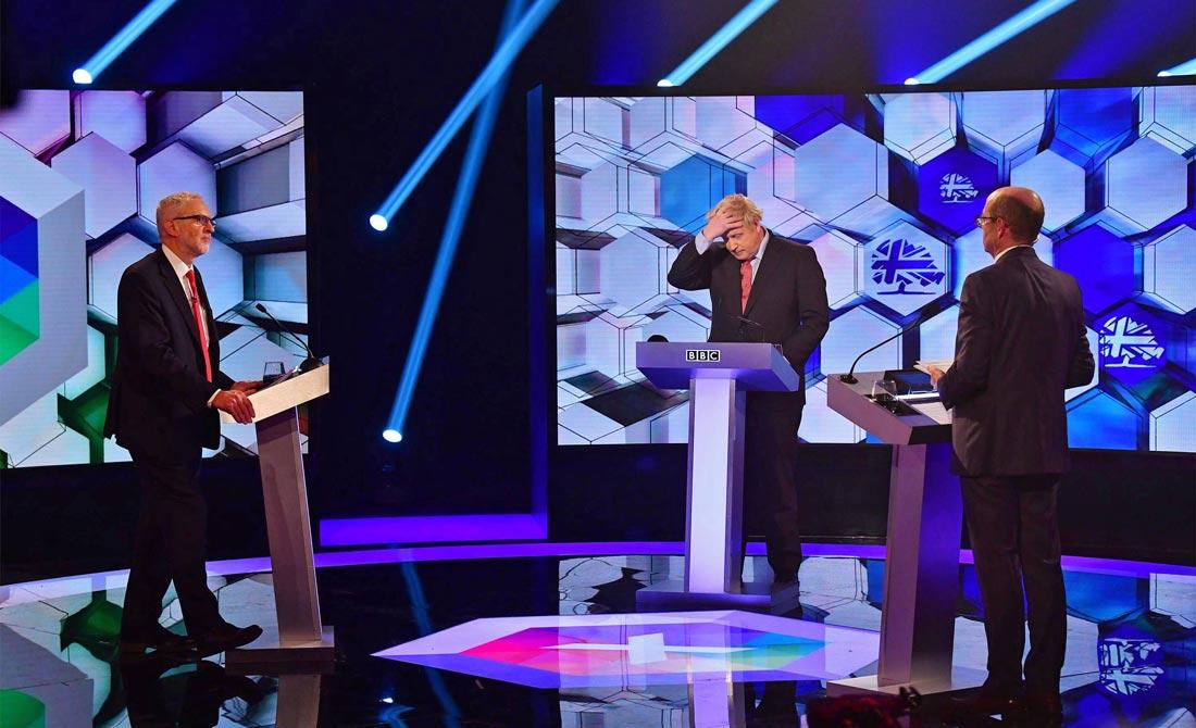 Diciembre de 2019. Debate electoral entre Jeremy Corbyn y Boris Johnson.