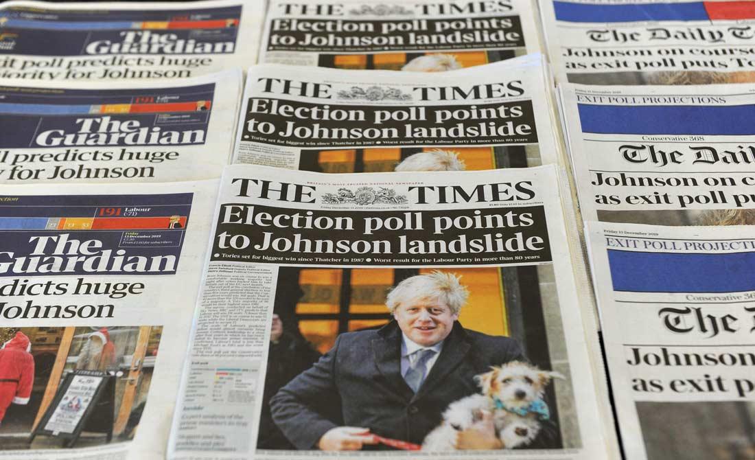 Diciembre de 2019. Periódicos con la contundente victoria de Boris Johnson.