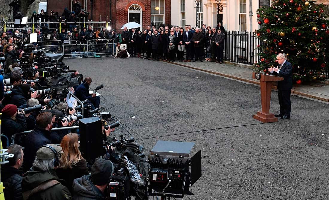 Diciembre de 2019. Discurso del primer ministro en funciones en las puertas del 10 de Downing Street.