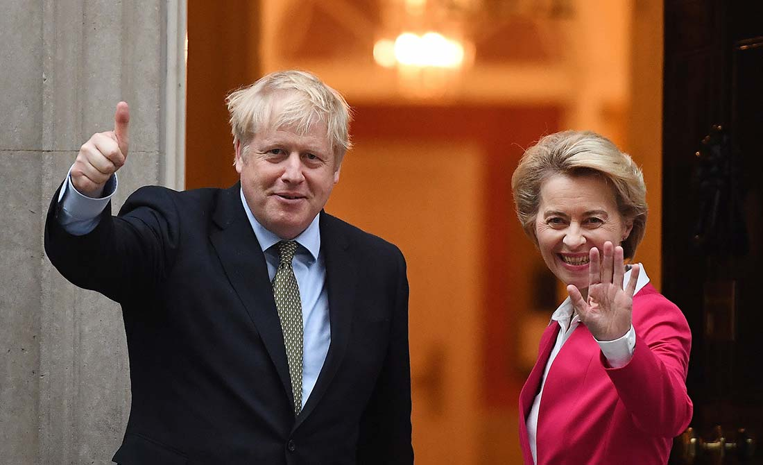 Enero de 2020. Boris Johnson recibe a la presidenta de la Comisión europea, Ursula von der Leyen, en Downing Street.