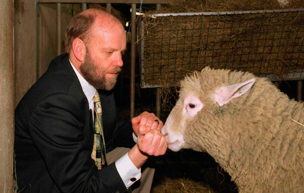 oveja Dolly con científico