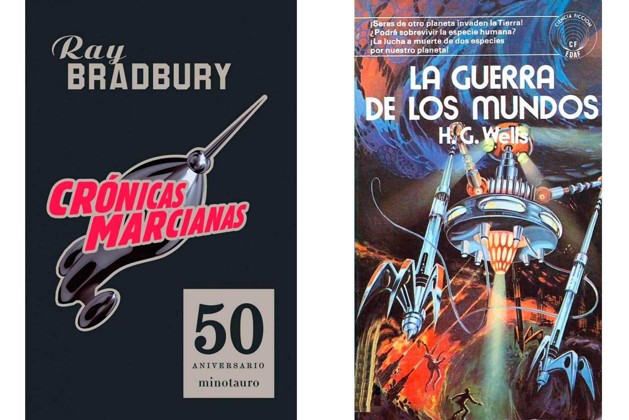 Portadas de ediciones en español de los libros 'Crónicas marcianas' y 'La guerra de los mundos'