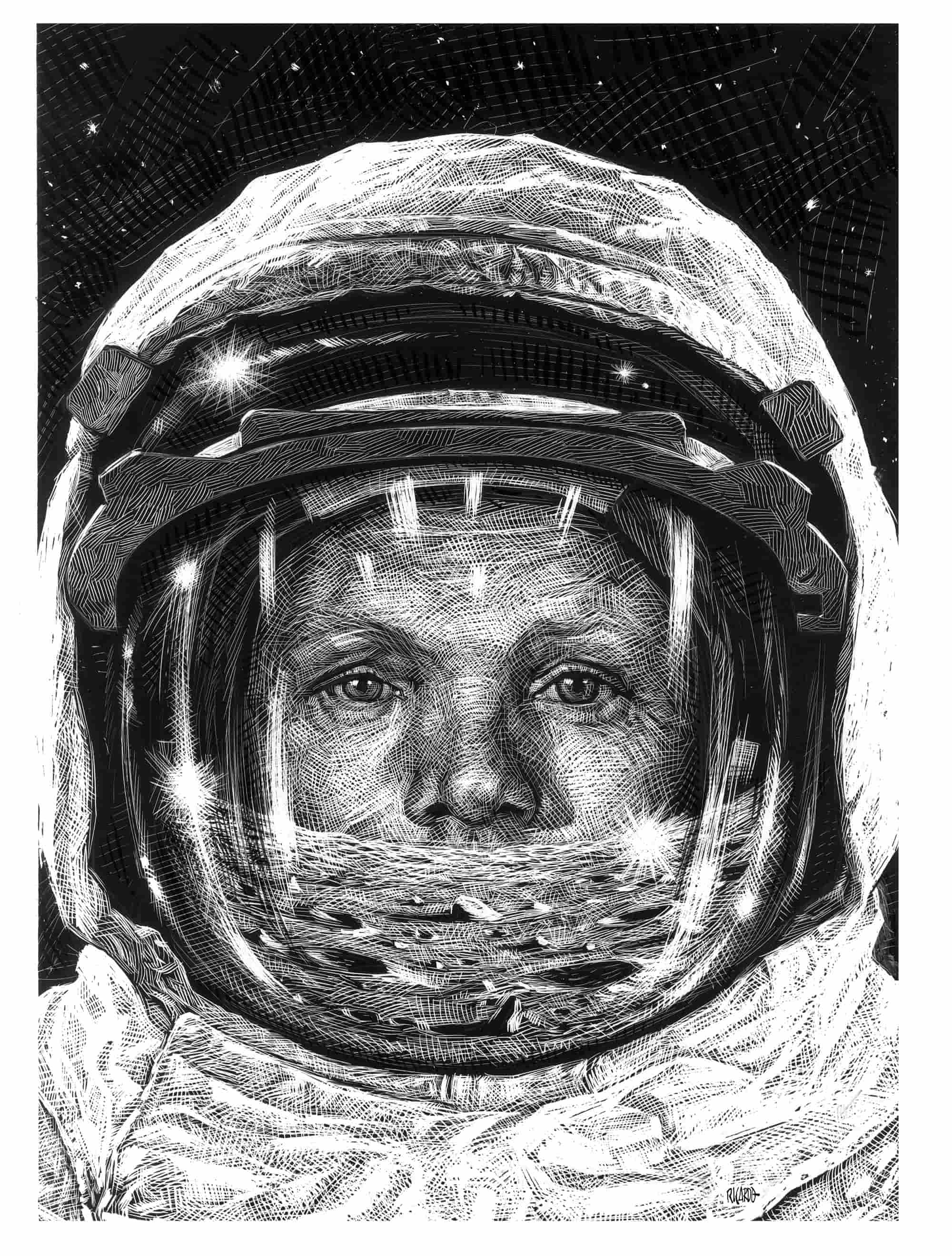 Ilustración de Neil Armstrong